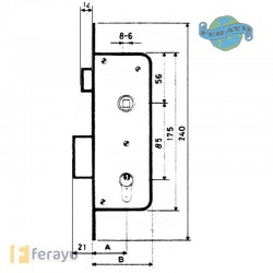 CERRADURA EMBUTIR F/ LATON 40 MM 1601/2