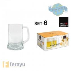 JARRA CERVEZA ROYAL GOLD SET-6 28 CL