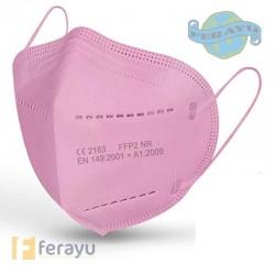 Mascarilla FFP2 sin válvula plegable de color rosa